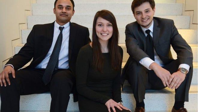 This University of Buffalo-based startup consists of Thiru Vikram (left), Alexander Zhitelzeyf (right) and Webster native Emilie Reynolds.