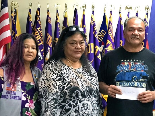 Continuing its mission of Caring for the Sick and the Elderly the Guam Sunshine Lions Club presented a monetary donation to Roy Toves, 54, to help defray the expenses of his medical treatment, on March 20 during the club's general membership meeting.  Pictured from left: Lion Julie Garcia, sponsor, Yvonne Toves, and Roy Toves.