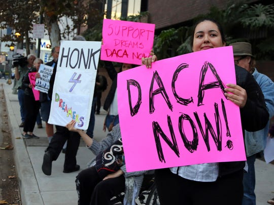 Demonstrators supporting the Deferred Action for Childhood Arrivals (DACA) program rally outside the office Sen. Dianne Feinstein, D-Calif., in Los Angeles on Jan. 3, 2018.