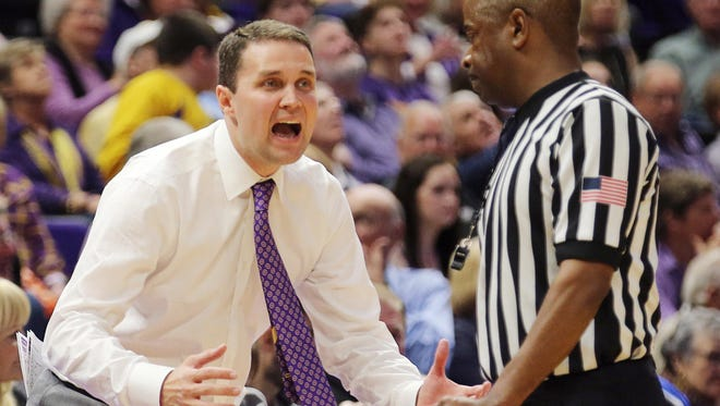 LSU Tigers head coach Will Wade reacts to a call in the first half against Mississippi State Bulldogs at Pete Maravich Assembly Center. Mandatory Credit: Stephen Lew-USA TODAY Sports