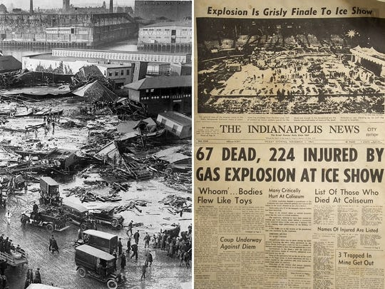 The 1919 photo at left shows the aftermath of a deadly molasses flood in Boston. At right is the 1963 Indianapolis News front page following a propane explosion at the Indiana State Fairgrounds.