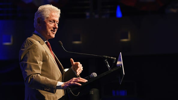 President Bill Clinton speaks during a campaign event