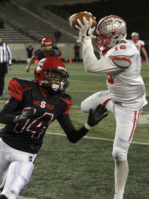 Shelby's Carter Brooks, catching a pass in the 2017 state semifinals against Steubenville, was a first team All-Ohio receiver. But he also excelled as a defensive end, which is what he will play in Friday's All-Star Football Classic.