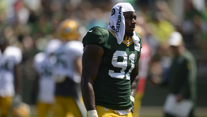 Green Bay Packers linebacker Jayrone Elliott during training camp practice at Ray Nitschke Field on Tuesday, Aug. 5, 2014.