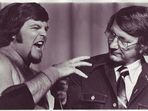 "Jerry ""The King"" Lawler (left) and Lance Russell on"