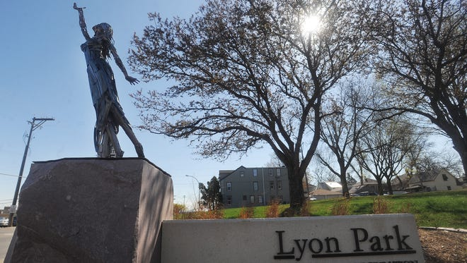 "The sculpture ""Effortlessly Buoyant"" at Lyon Park on Monday, April 20, 2015."