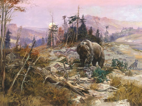 This painting by artist Charles Russell is part of an exhibit entitled Harmless Hunter currently on display at the Rockwell Museum in Corning.