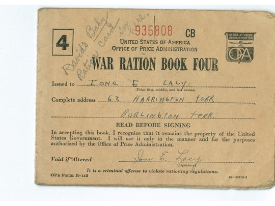 Ione Lacy's war ration book from the World War II days.