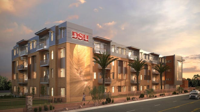 An architect's rendering shows the planned four-story Dixie State University dormitory building near the corner of 100 South and 1000 East. DSU announced the building contractors Friday and work is expected to begin next month.
