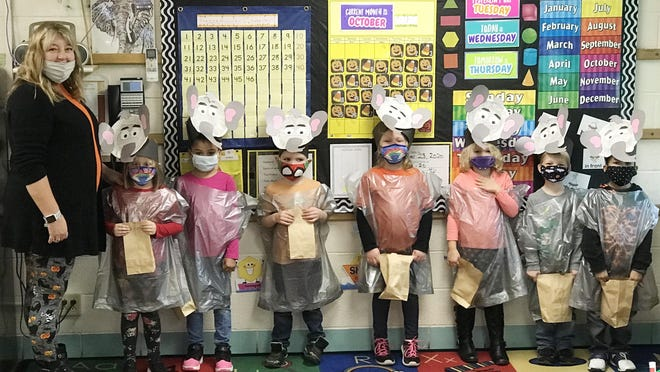 """Belle Alexander students celebrated their animal families for Halloween this year. Each student made his or her own costume in class and participated in a """"trick or treat"""" around the school. This event was made possible by donations from Save-a-Lot and our Hat Day fundraiser. Pictured are Mrs. Ellenberger's Energetic Elephants."""