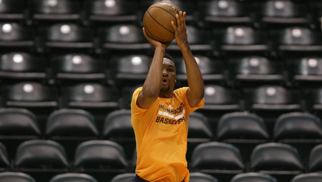 Zak Irvin, of Michigan, during his workout for the Indiana Pacers. The Pacers held another pre-draft workout for several possible NBA draft picks at Tuesday, June 6, 2017, at Bankers Life Fieldhouse.
