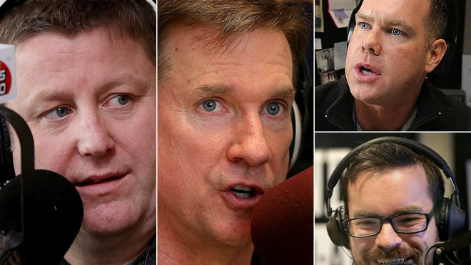 These guys talk sports starting at 3 p.m. on weekday afternoons: JMV (left) on WFNI-1070 AM; Kent Sterling (middle) on WXNT-1430 AM; and Jake Query (top right) and Derek Schultz on WNDE-1260 AM.