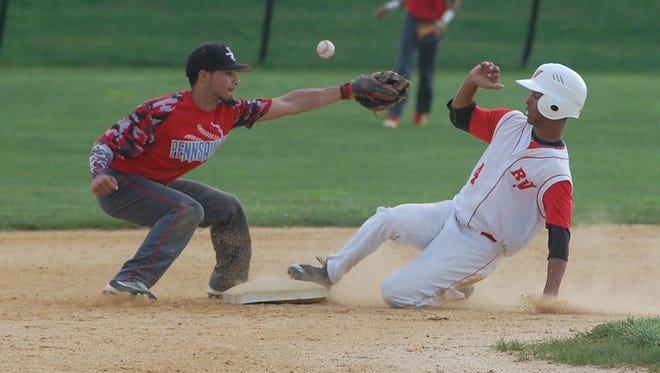 JoJo Alvarez of Rancocas Valley steals second base in the fourth inning as the ball slips away from Pennsauken's Lasana Jabateh on Thursday.
