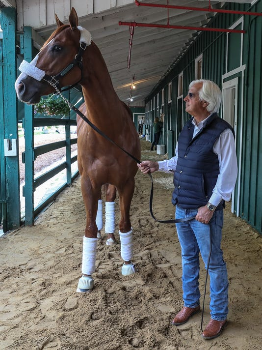 Bob Baffert leads Preakness, Derby winner Justify from stakes barn at Pimlico