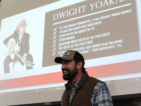 Mark Powell talks about Dwight Yoakam after announcing the country music singer as headliner for the 8th Outlaws & Legends Music Fest in March. The lineup for this weekend's event was announced at the Abilene Convention & Visitors Bureau boardroom, with cheers for Yoakam as headliner.