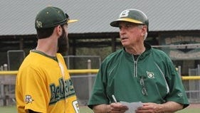 Belhaven baseball coach Hill Denson, right, got his 1,000th victory as a coach Wednesday