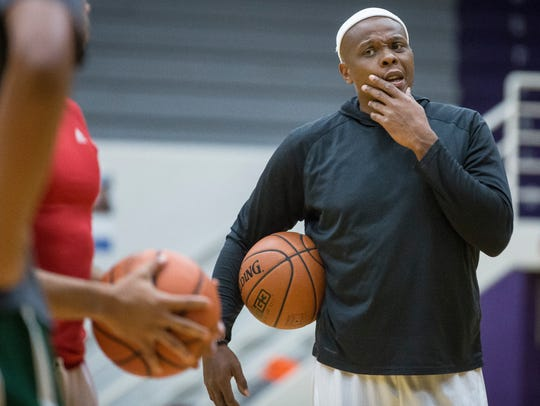 Bonzi Wells works with Central's basketball team June
