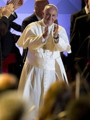 Pope Francis takes the stage at the World Meeting of Families festival last Saturday in Philadelphia.