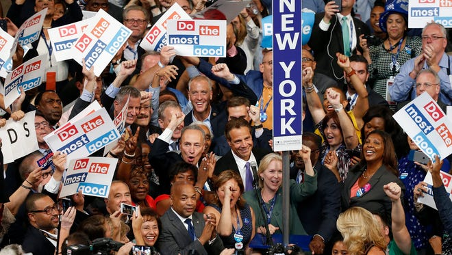 New York Delegates, including Senators Chuck Schumer and Kirsten Gillibrand, Gov. Andrew Cuomo and Cold Spring Rep. Sean Patrick Maloney, cast their votes on the second day of the Democratic National Convention at the Wells Fargo Center in Philadelphia.