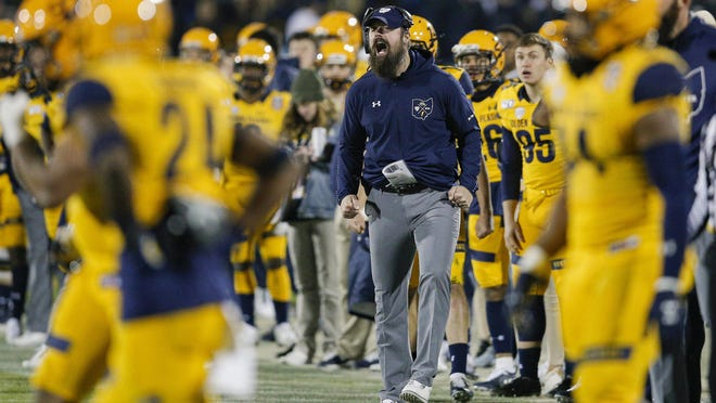 Kent State head coach Sean Lewis shouts from the sidelines during the second half of the Frisco Bowl NCAA college football game against Utah State Friday, Dec. 20, 2019, in Frisco, Texas. Kent State won 51-41.