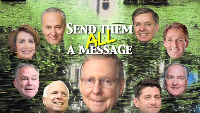 In this still from an ad from Roy Moore's U.S. Senate campaign, the former Alabama Chief Justice attacks Senate Majority Leader Mitch McConnell, R-Ky., and other prominent Washington leaders