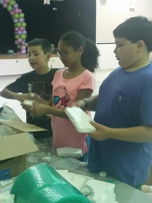 Ellison School students worked together to create a safe container for an egg during a recent STEM (Science, technology, engineering and mathematics) egg drop activity.