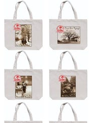 Commemorative tote bags, with six different Verne Morton