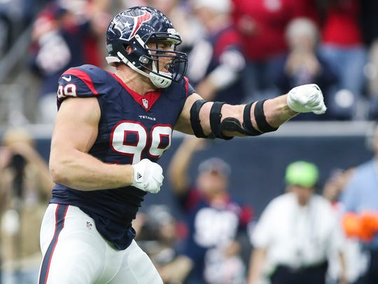 Houston Texans defensive end J.J. Watt (99) celebrates