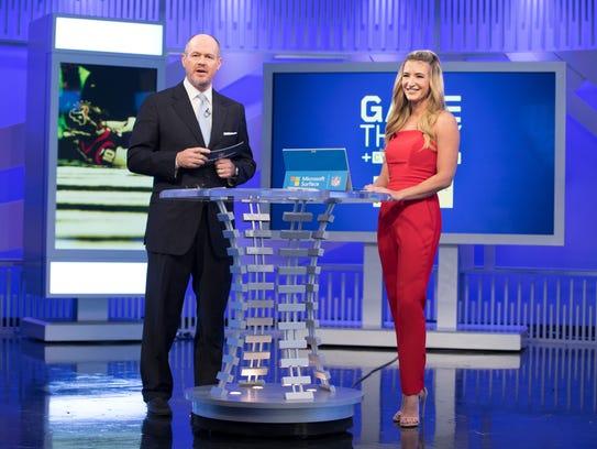 Rich Eisen, left, Cynthia Frelund on the NFL Network