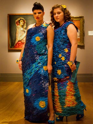 Rebecca Phoenix, left, and Emily Bellaver, right, are finalists in a Duck Tape duct tape prom competition.
