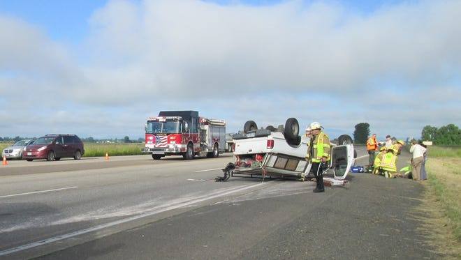 Crash on Highway 34 that closed lanes on Wednesday, May 27.