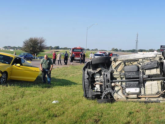 A Honda minivan and a Ford Mustang were involved in a rollover accident on I-44 northbound Thursday morning in Burkburnett. The driver of the Honda was taken to the hospital with serious injuries.