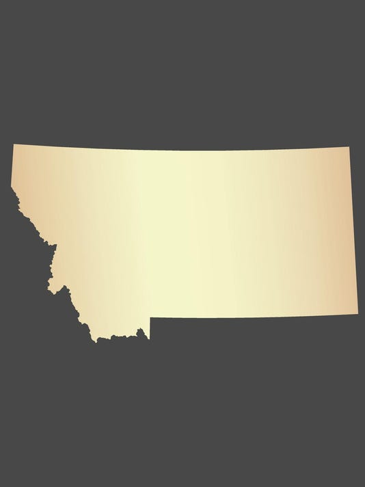 Montana map vector outline in USA with gray background