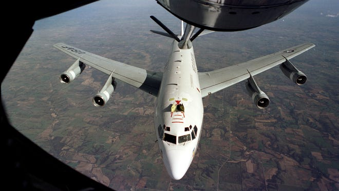 The WC-135W Constant Phoenix aircraft collects particulate and gaseous debris from the accessible regions of the atmosphere in support of the Limited Nuclear Test Ban Treaty of 1963.