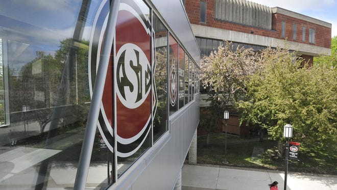 The St. Cloud State University logo is displayed on a walkway in May on campus. Celebrate! St. Cloud State, a quarterly initiative at the school, starts its fall iteration Thursday.