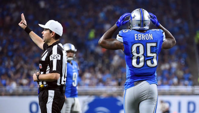 Sep 18, 2016; Detroit, MI, USA; Lions tight end Eric Ebron reacts as referee Brad Allen makes a call during the second quarter against the Tennessee Titans at Ford Field.