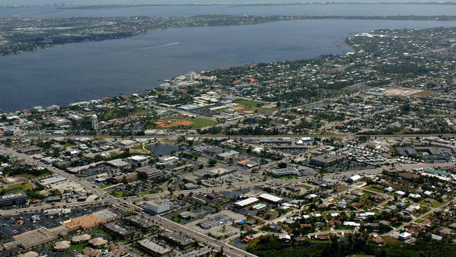 An aerial of downtown Stuart, looking east.