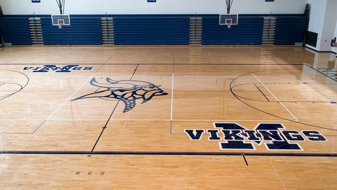 The gym floor at Marysville High School has been sanded and repainted with new lines and logos.