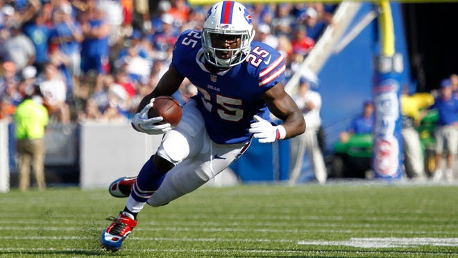 Buffalo Bills running back LeSean McCoy (25) runs with the ball against the Denver Broncos during the second half of an NFL football game, Sunday, Sept. 24, 2017, in Orchard Park, N.Y. (AP Photo/Jeffrey T. Barnes)