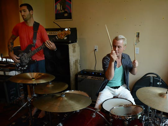 Bassist Chris Anderson and drummer Aaron Maloney rehearse.