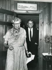 Eleanor Roosevelt is pictured with John F. Kennedy at Val-Kill on Aug. 14, 1960.