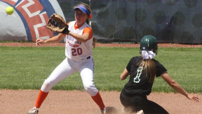 Garden City shortstop Kaylen Glenfield awaits a throw from catcher Rachel Spellman Saturday.