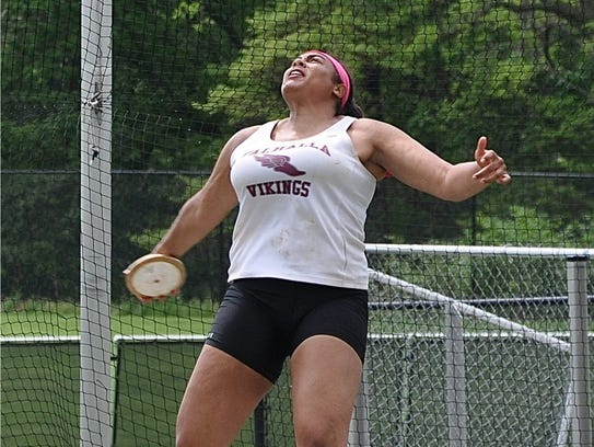 Valhalla's Sam Morillo prepares to release the discus.