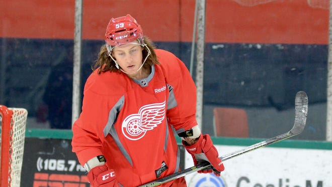 Tyler Bertuzzi during the Red Wings' developmental camp for prospects July 9, 2016, in Traverse City.
