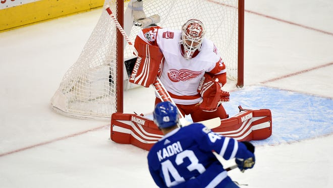 Maple Leafs forward Nazem Kadri scores past Red Wings goalie Jimmy Howard in the first period at Air Canada Centre on Wednesday night.