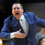 Tennessee head coach Donnie Tyndall shouts from the sideline on Jan. 10 during Tennessee's 56-38 loss to Alabama at Thompson-Boling Arena in Knoxville, Tenn.