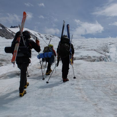 Students with the Juneau Icefield Research Program traverse an icefield. Donovan Dennis, a Great Falls High school graduate, spent the summer at the Juneau Icefield Research Program doing glacial research.
