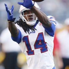 Aug 16, 2014; Pittsburgh, PA, USA; Buffalo Bills wide receiver Sammy Watkins (14) catches a pass prior to the game against the Pittsburgh Steelers at Heinz Field. Mandatory Credit: Charles LeClaire-USA TODAY Sports