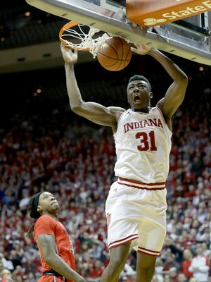 Indiana Hoosiers center Thomas Bryant (31) slams the ball for two points in the first half of their game Sunday, January 15, 2017, afternoon at Assembly Hall in Bloomington IN.