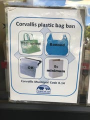 Corvallis has instituted plastic bag ban, but allows customers to pay at least 5 cents for a paper bag.